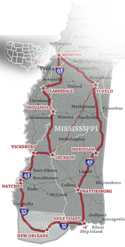 Memphis & Mississippi map